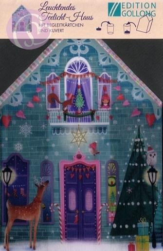 leuchtendes teelicht haus weihnachten tiere geschenke. Black Bedroom Furniture Sets. Home Design Ideas