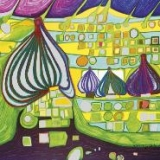 Lunchservietten Hundertwasser - Land in Gelb %
