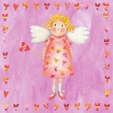 Lunchservietten Heart Angel pink, Schutzengel